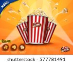 classic popcorn ads  delicious... | Shutterstock .eps vector #577781491