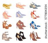 womens shoes flat fashion... | Shutterstock .eps vector #577804354