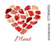 meat poster. vector heart of... | Shutterstock .eps vector #577809031
