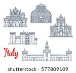 italian historic landmarks and... | Shutterstock .eps vector #577809109