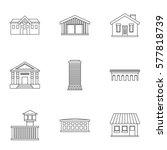 city public buildings icons set.... | Shutterstock . vector #577818739
