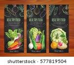 vegetables banners set.... | Shutterstock .eps vector #577819504