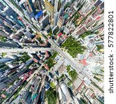 aerial city view with... | Shutterstock . vector #577822801