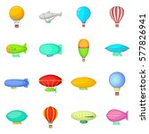 vintage balloons icons set.... | Shutterstock . vector #577826941