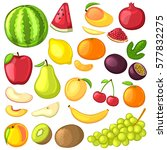 set of fruit. cartoon icons.... | Shutterstock .eps vector #577832275