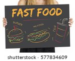 burger hotdog cola fast food... | Shutterstock . vector #577834609
