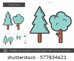 Forest Vector Line Icon...