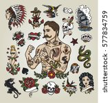 Tattoo flash set. Isolated tattoo hipster man and various tattoo images.