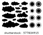 set of monochrome clouds and... | Shutterstock .eps vector #577834915