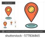geo tag vector line icon...