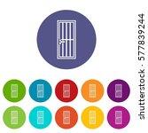 steel door set icons in... | Shutterstock . vector #577839244