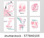 set of six greeting cards for... | Shutterstock .eps vector #577840105