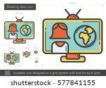 breaking news vector line icon... | Shutterstock .eps vector #577841155