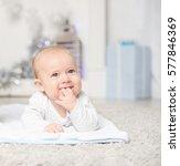 happy cute little baby on... | Shutterstock . vector #577846369