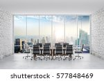 3d conference office with a big ... | Shutterstock . vector #577848469