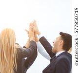 concept of successful teamwork  ... | Shutterstock . vector #577850719