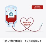 blood bag  pack with heart... | Shutterstock .eps vector #577850875