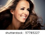 Young Brunette Smiling Woman ...