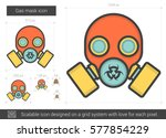 gas mask vector line icon...