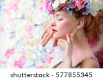 beautiful romantic young woman... | Shutterstock . vector #577855345