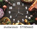 Food Clock On The Black Wood...