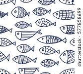 Blue Fish. Vector Seamless...