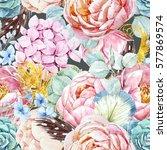 gentle watercolor floral... | Shutterstock . vector #577869574