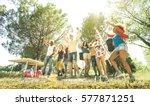 multiracial friends having fun...   Shutterstock . vector #577871251