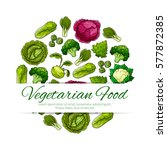 vegetarian food poster with... | Shutterstock .eps vector #577872385