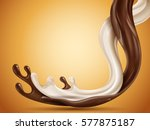 liquid chocolate and milk flow... | Shutterstock .eps vector #577875187