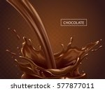 splashing chocolate liquid ... | Shutterstock .eps vector #577877011