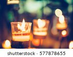 colorful candles light for... | Shutterstock . vector #577878655