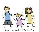 happy family holding hands and... | Shutterstock . vector #57787897