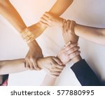 people hand assemble business...   Shutterstock . vector #577880995
