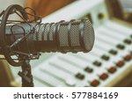 microphone in radio studio | Shutterstock . vector #577884169