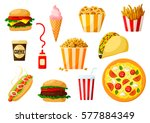 fast food dishes with drinks... | Shutterstock .eps vector #577884349