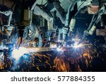 robots are welding automotive... | Shutterstock . vector #577884355