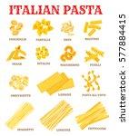 italian pasta list of different ... | Shutterstock .eps vector #577884415