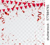 confetti red and flag ribbons ... | Shutterstock .eps vector #577884781