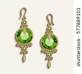 vintage gold jewelry earrings... | Shutterstock .eps vector #577889101