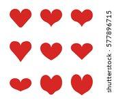 flat heart set in modern style... | Shutterstock .eps vector #577896715