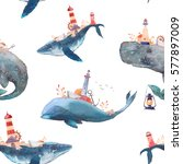 watercolor creative whales... | Shutterstock . vector #577897009