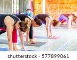 fitness asian female group... | Shutterstock . vector #577899061