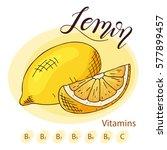 food design with fruit. hand... | Shutterstock .eps vector #577899457