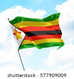 flag of zimbabwe raised up in... | Shutterstock . vector #577909009