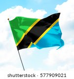 flag of tanzania raised up in... | Shutterstock . vector #577909021