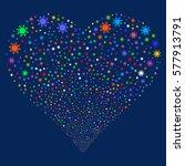 sun fireworks with heart shape. ... | Shutterstock . vector #577913791
