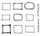 hand drawn doodle frames set.... | Shutterstock .eps vector #577916125
