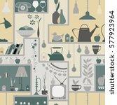 seamless pattern with shelves... | Shutterstock .eps vector #577923964