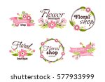 floral shop badge decorative... | Shutterstock .eps vector #577933999